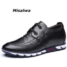 Misalwa Men Elevator Shoes 2019 New Year Lace up Hidden Heel Casual Natural Leather Loafers Comfortable Height Increase Flat