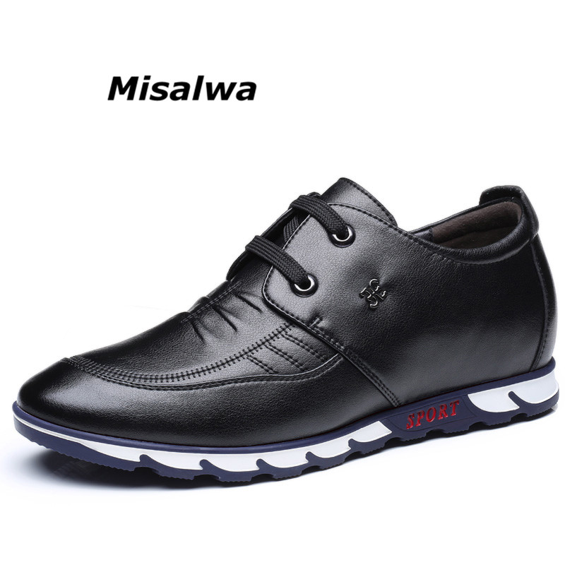 Misalwa Men Elevator Shoes 2019 New Year Lace up Hidden Heel Men Casual Natural