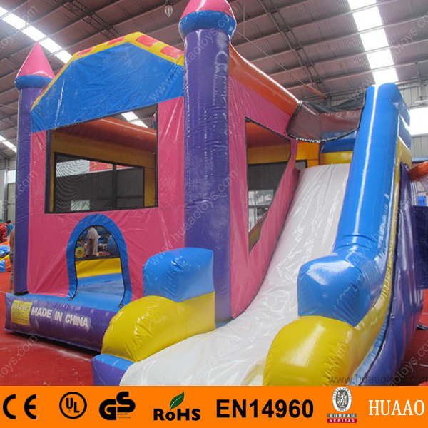 Commercial grade 5*5m inflatable castle with slide and basketball hoop and free CE blower