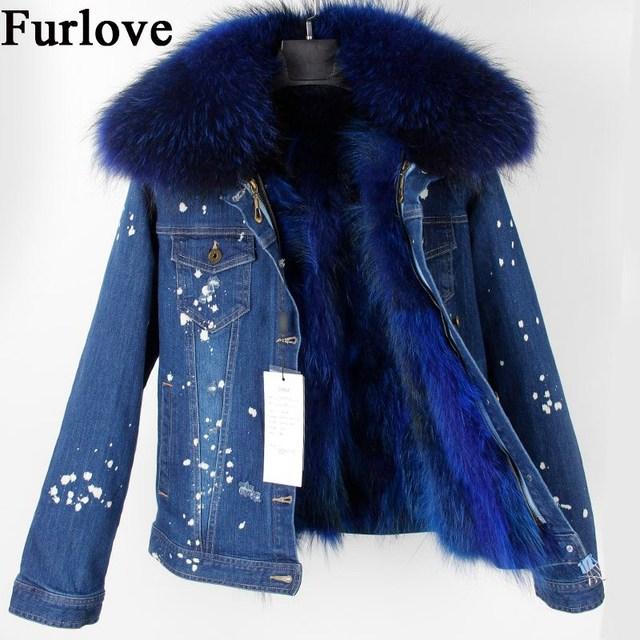 Jeans Jacket Women Fashion Denim Jackets Short Real Raccoon Fur