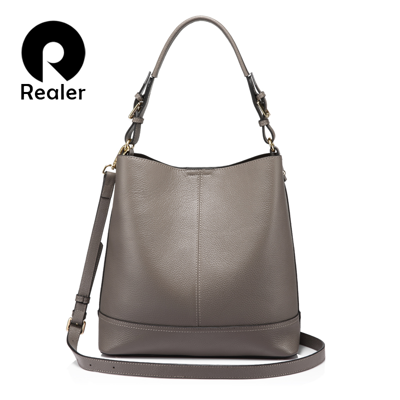 2fea67b80a93 US $43.22 60% OFF|REALER bucket bag women handbags shoulder crossbody bags  female genuine leather totes ladies messenger large top handle bags NEW-in  ...