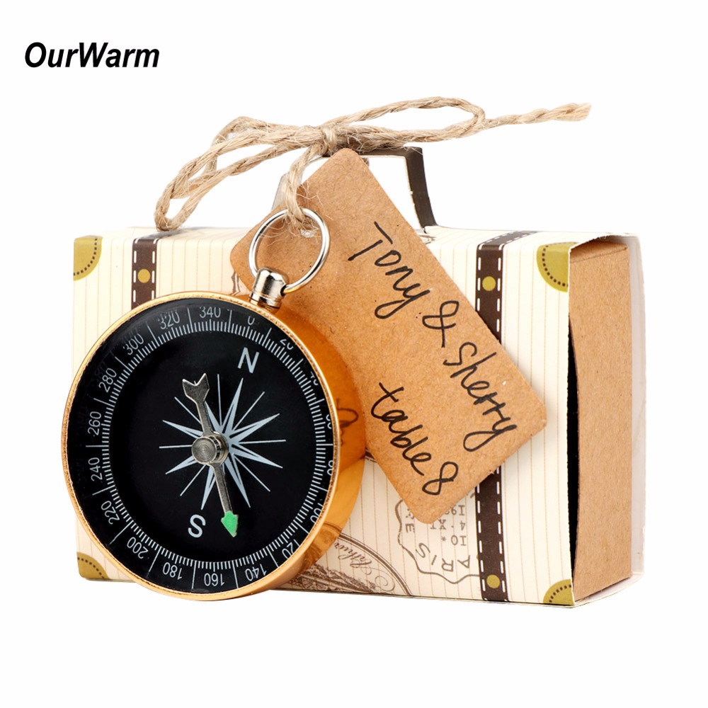 10pcs Wedding Gifts For Guest Suitcase Candy Gift Box Bag Christening Compass Favor Baptism Wedding Souvenir Party Decoration