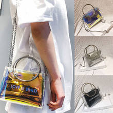 Women Transparent Handbag Shoulder Bag Clear Jelly Purse Clutch Plastic Tote(China)
