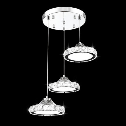 Ring LED round pendant lights European pendant lamp three heads creative crystal restaurant dining room living room lamps ZA modern living room light dining ring led crystal pendant lights room three bedroom creative personality pendant lamps