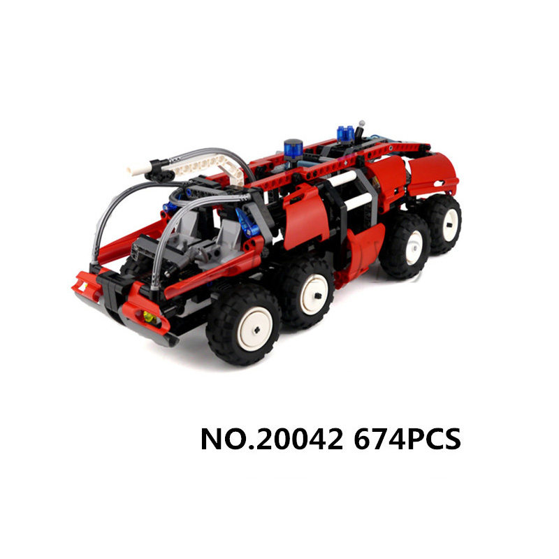 WAZ Compatible with Lego Technic Creative 20042 674pcs Airport Fire Truck Set building blocks Figure Bricks toys for children