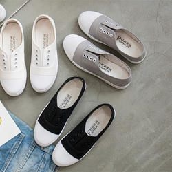 Дно flats2019 Весна и осень повседневная обувь одна нога без застежки белые туфли холщовая обувь для учеников обувь на плоской подошве