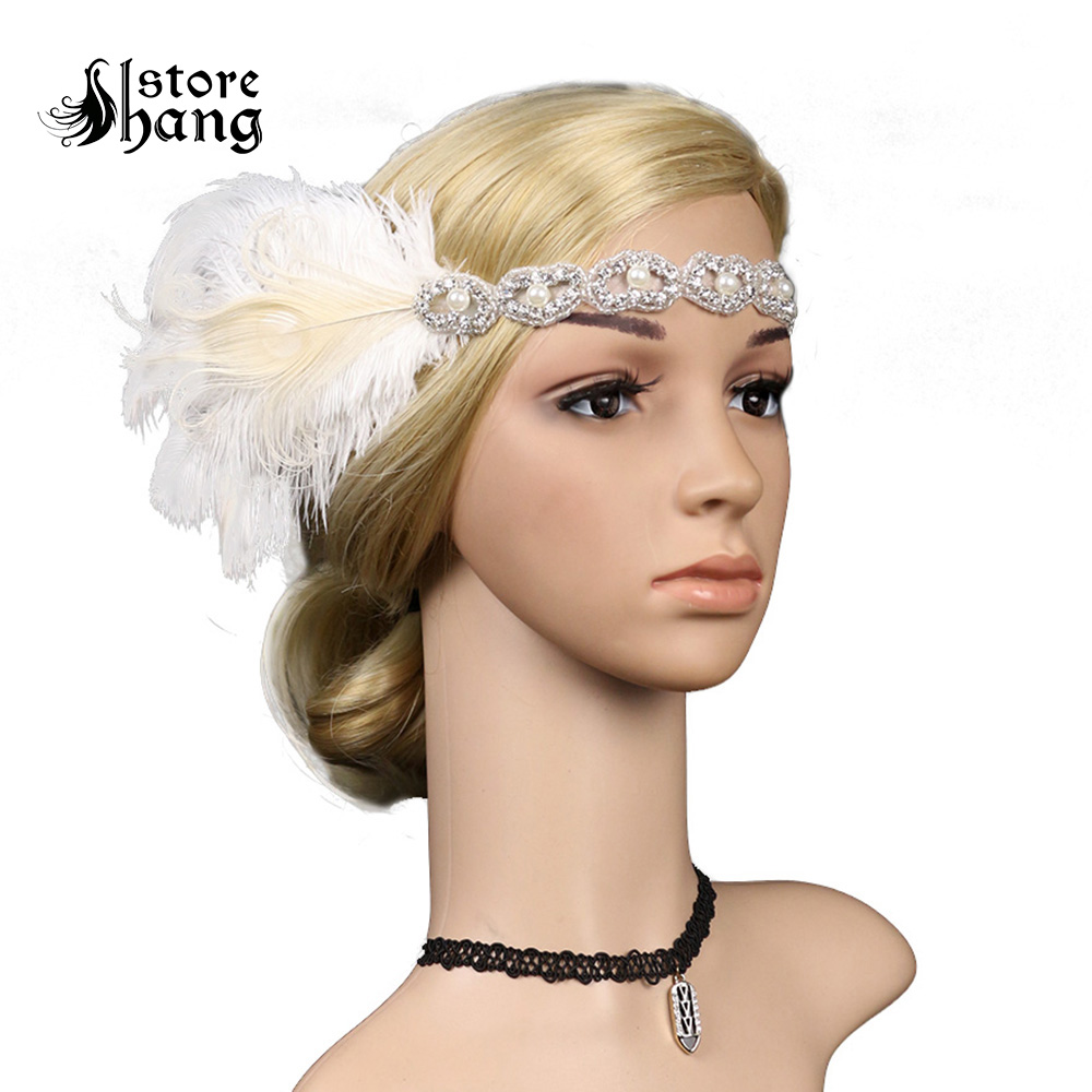 1920s Great Gatsby Flapper Headbands Deluxe Rhinestone Headpiece with Peacock Feather Flapper Girl Jewel Hair Accessories headpiece
