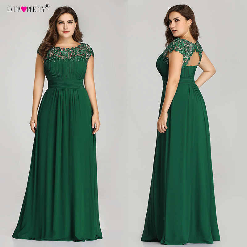 d95a45a1220 ... Длинные Выпускные платья Ever Pretty EP09993 2019 темно-зеленый плюс  размер кружева аппликации o- ...