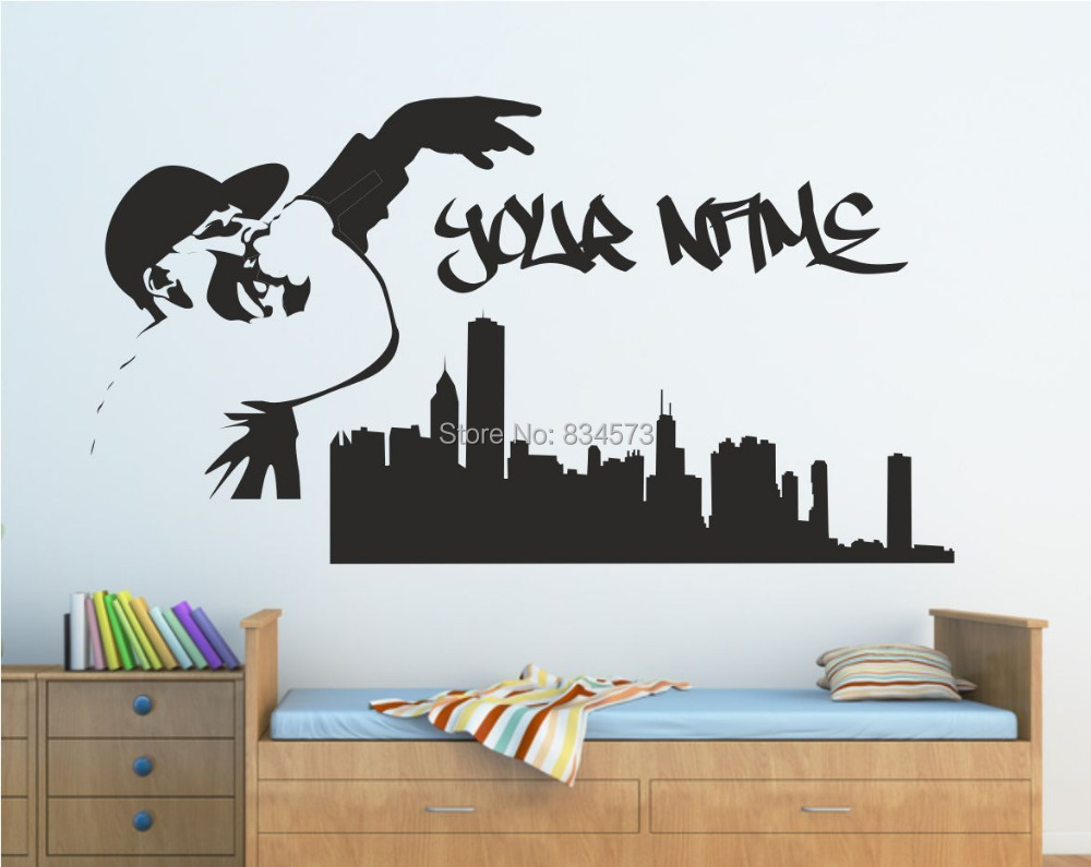 online get cheap personalised wall stickers music aliexpress com personalised graffiti skyline music singer wall art sticker decal diy home decoration wall mural removable room