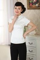 2014 New Fashion White Chinese Women S Clothing Cotton Blouses Shirt Tops Size M L XL