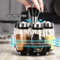 7Pcs/Set Rotating Spice Jars Stainless Steel Glass Seasoning Condiment Cans Set for Spice Salt Pepper Shakers Cruet Kitchen Tool