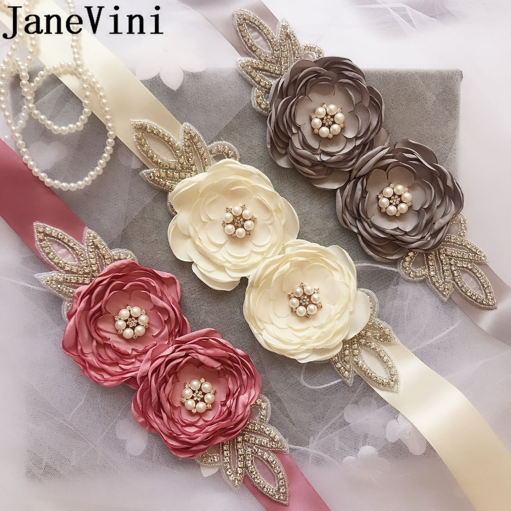 Flower Belts For Wedding Dresses: JaneVini Elegant Beaded Flowers Dresses Wedding Belts