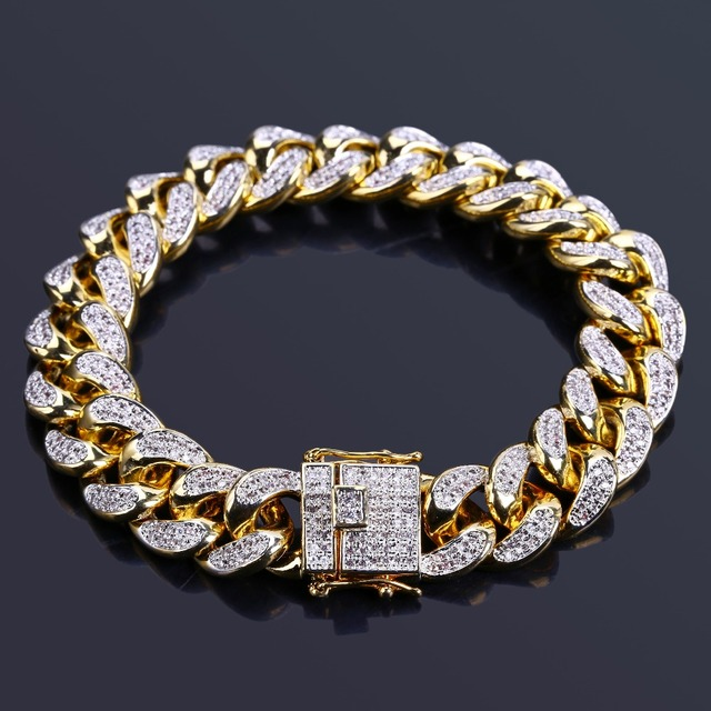 """TOPGRILLZ Hip Hop Male Jewelry Bracelet Copper Iced Out Gold Color Plated CZ Stone 14mm Chain Bracelets With 7"""" 8"""" Two sizes"""