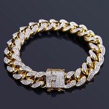 """TOPGRILLZ الهيب هوب الذكور المجوهرات سوار النحاس مثلج خارج الذهب اللون مطلي تشيكوسلوفاكيا حجر 14 مللي متر سلسلة أساور مع 7 """"8"""" حجمين"""