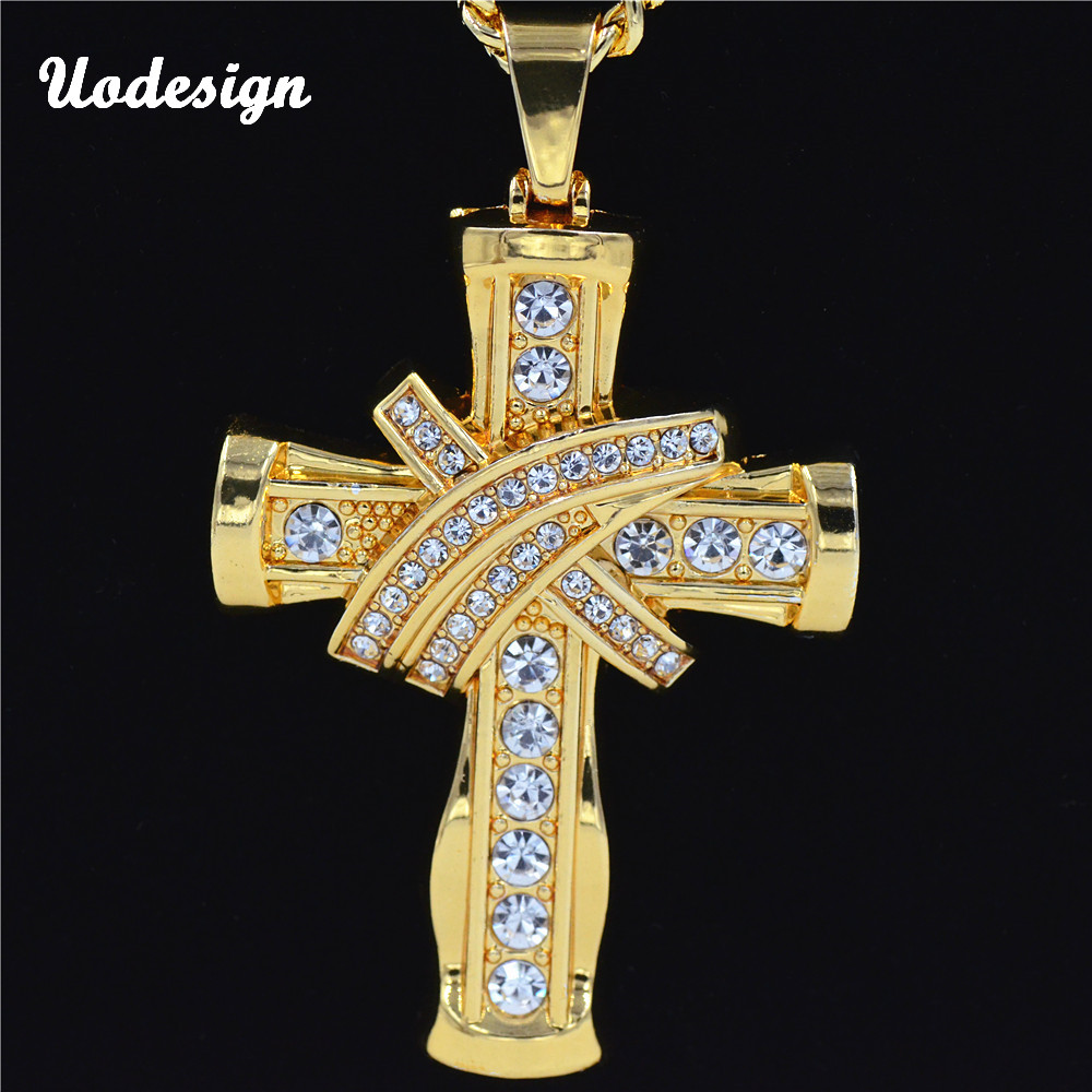 New Hip Hop Full Rhinestone Crystal Iced Out Bling JESUS Christ Cross Pendants Necklaces for Men Women Jewelry