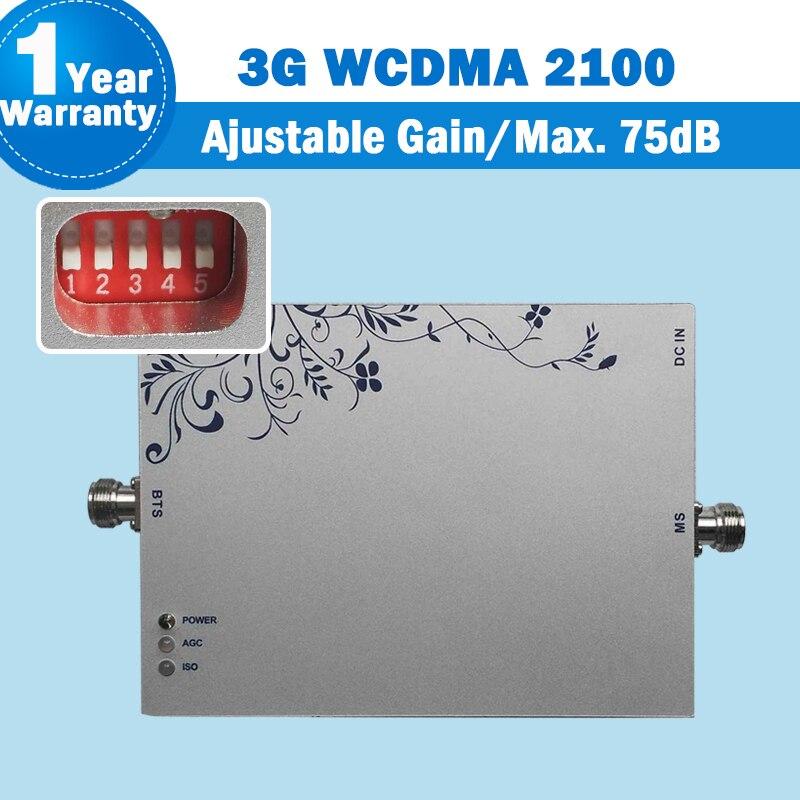75dB Gain 3G 2100 B1 Mobile Phone Signal Repeater B1 Cellphone Booster WCDMA Amplifier Repetidor De