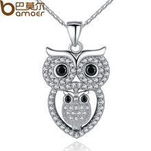 BAMOER Vintage Owl Pendant Necklace with AAA Austrian Zircon 18K White Gold Plated Summer Collection Animal Jewelry YIN047