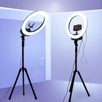 16 Dimmable светодиодный Selfie кольцевой светильник для YouTube видео Live Makeup studio с батареей уличный штатив USB держатель лампа для фотосъемки