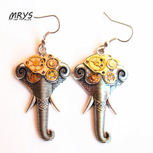 steampunk rock punk elephant trunk gears watch parts drop earrings girls women vintage jewelry christmas gift party trendy cool
