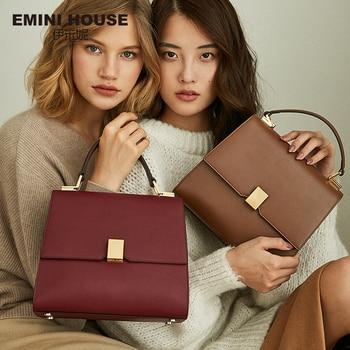 EMINI HOUSE Retro Style Luxury Handbags Women Bags Designer Simple Padlock Shoulder Crossbody Bags For Women Split Leather Handbags