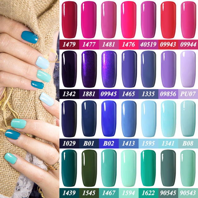 Belle Fille 10ml Rose Pink Purple Blue Green Nail Gel Polish Party ...