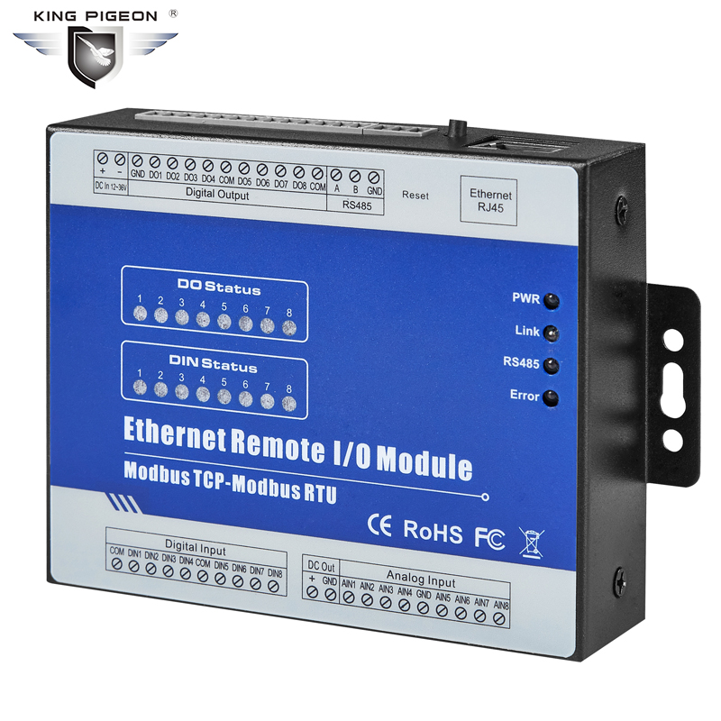 RS485 Modbus TCP Server RJ45 Ethernet Data Acquisition Module 8DIN 4DO 4AI Embedded Web server for