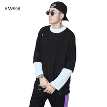 Men High Street Loose Hip Hop Oversize Short Sleeve Sweater Fashion Hole Knitwear Pullovers Sweater
