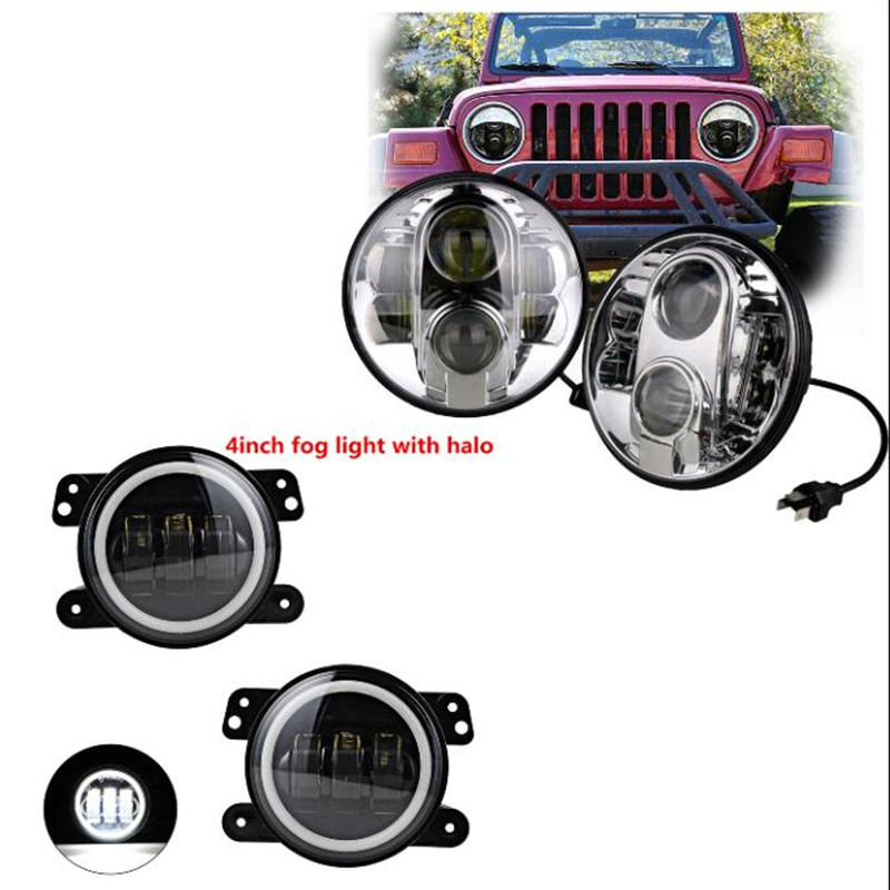 Round 7 inch harley led headlight DRL Projector Daymaker headlamp and 4 inch led fog lights