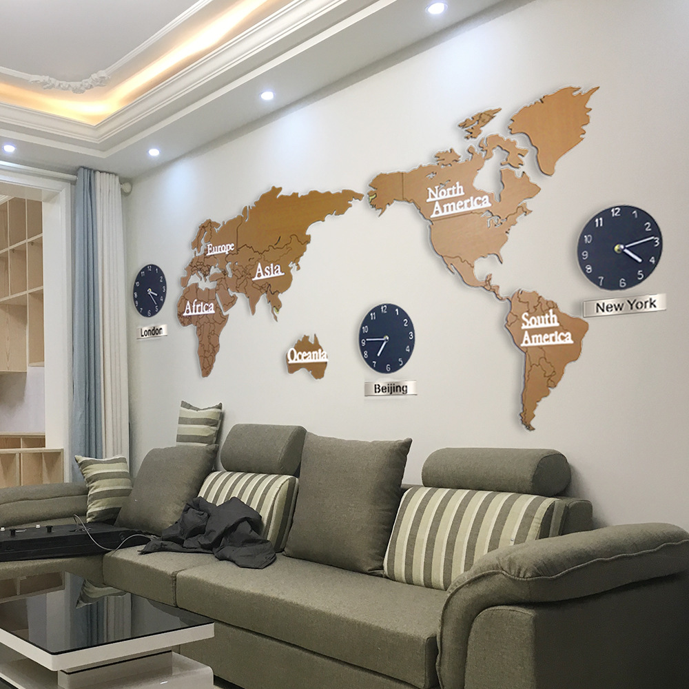 2 style creative 3d wooden wall clock world map large size wall sticker clock modern european. Black Bedroom Furniture Sets. Home Design Ideas