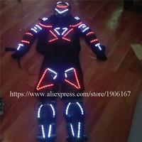 Белый красного цвета со светодиодной подсветкой робот костюм со светодиодной Маска LED Панцири световой эффективности Костюмы Одежда для та