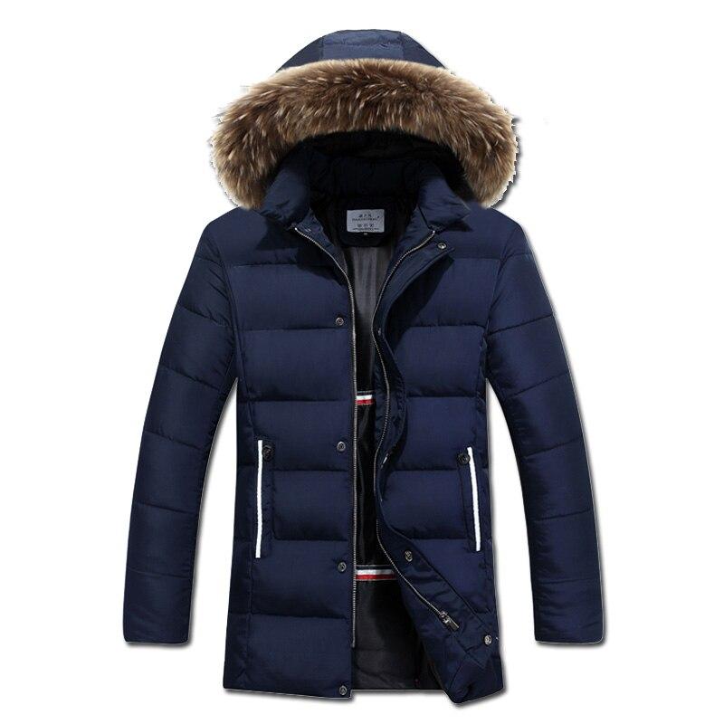 2016 Jaqueta Masculina Veste Homme Parkas Men's Casual Fashion Slim Fit Cotton-Padded Winter Medium Long Hooded Jackets Parkas