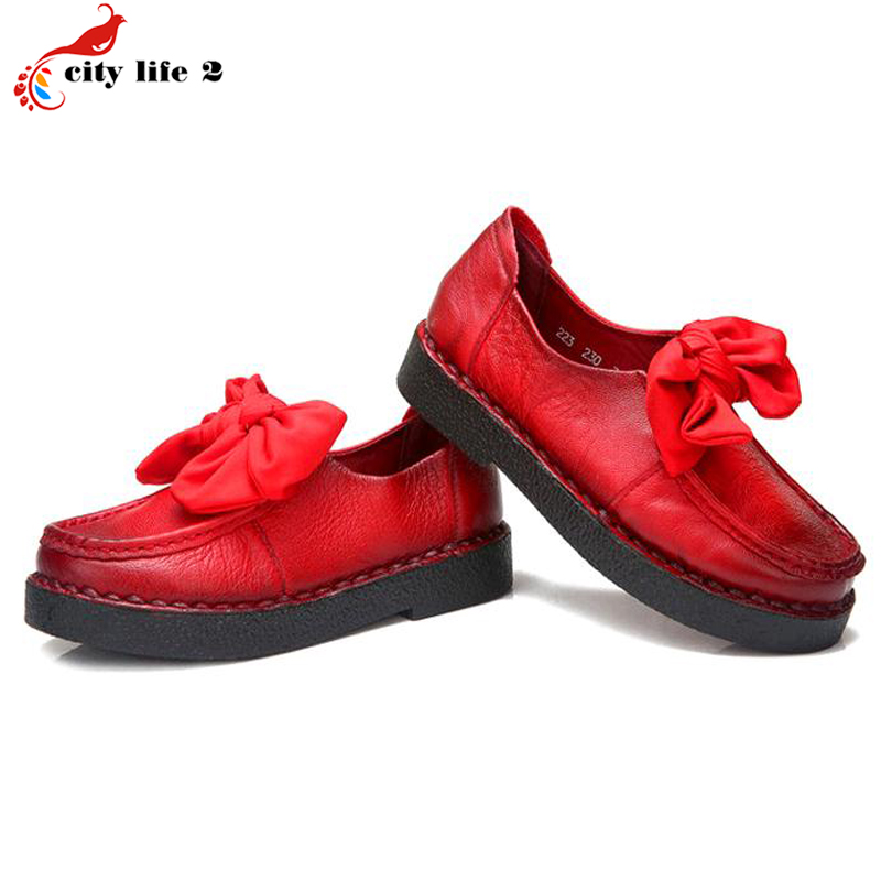 Cowhide Genuine Leather Leisure Shoes Soft Bottom Shoes Bow Flat With Casual Mother Shoes font b