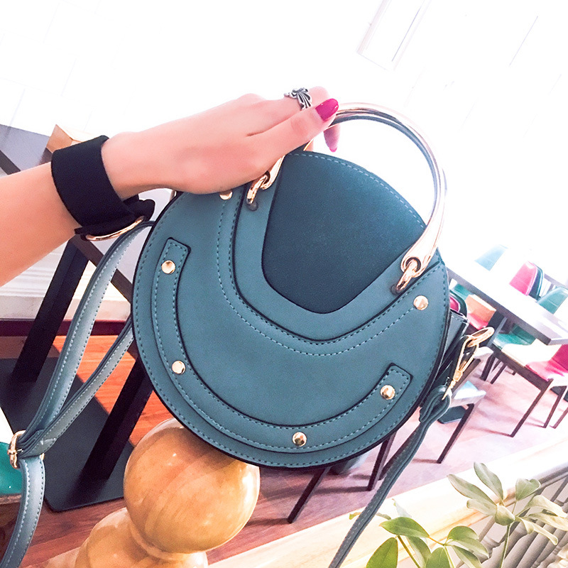 Vrouwelijke Tas vrouwen Handtassen 2019 Nieuwe Metalen Handvat Ronde Tas Schouder Crossbody Draagbare Kleine Tas Bolsa Feminina - 5