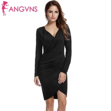 ANGVNS 2017 Autumn Bandage Pencil Women Dress Sexy Work Business Vestidos Long Sleeve Elegant Sheath Bodycon Office Dresses