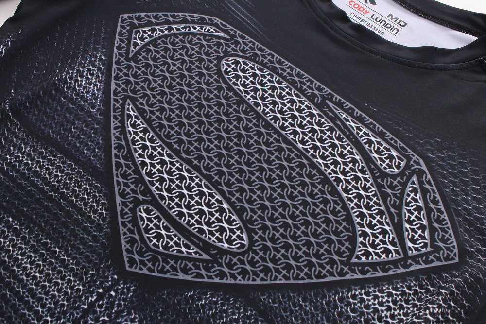 Для Мужчинs супергероев Супермен Классический S логотип щит темно-футболка Для мужчин shaper Колготки для новорождённых Сублимация ТРЕНАЖЕРН...