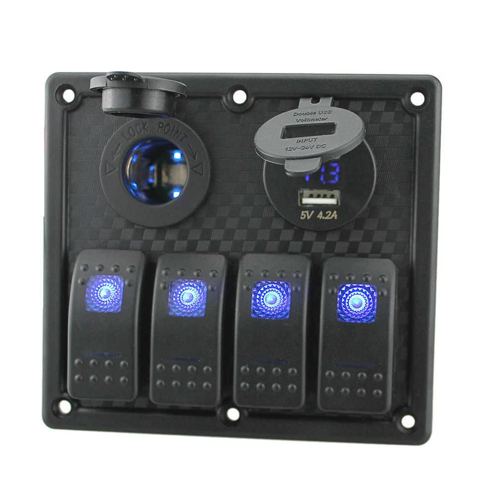 12V-24V Waterproof 4-Gang Switch Panel Led Rocker Switch Panel Cigarette Lighter Socket Dual USB Port Voltmeter