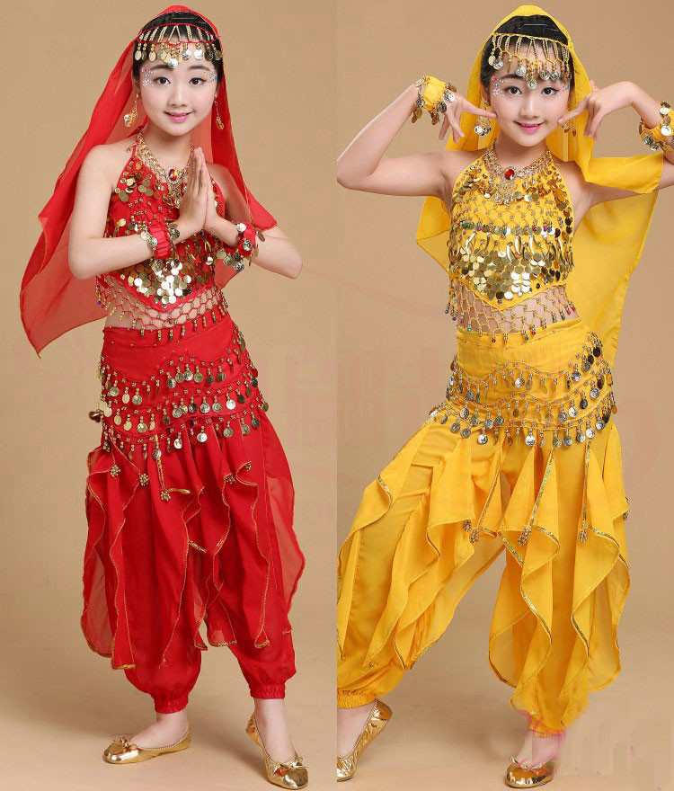 US $13 22 |Children Indian Dance Costumes Set Kids Girls Dancing Bollywood  Handmade Costumes Belt Competition Dresses 4 Colors on Aliexpress com |