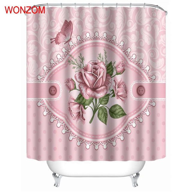 WONZOM Pink Rose Shower Bathroom Waterproof Accessories Curtains For Decor  Modern Pink Flower Bath Curtain With