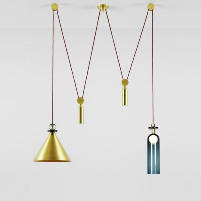 Nordic Creative Simple Glass Personality Post Modern Lift Pulley Lighting Living Room Bedroom Restaurant Decor LED Pendant Light nordic pendant lights simple personality creative cafe restaurant pendant lamp modern living room study bedroom lighting fixture