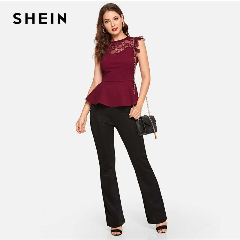 35e788c416 ... SHEIN Burgundy Lace Yoke Solid Peplum Top Elegant Plain Round Neck  Sleeveless Slim Fit Blouse Women ...