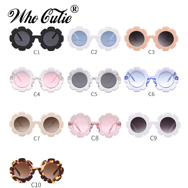 WHO CUTIE Round Flower kids sunglasses Brand Designer Girl Boy Goggles Cute Baby Sun glasses UV400 Lens Shades Children Toddler 5