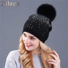 [Xthree] женщины зима шапочка hat кролика шерсть вязаная шапка женский норки pom pom Сияющий Rhinestone шляпы для женщины