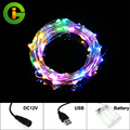 Copper Silver Wire Strings fairy lights USB 5V Xmas holiday party wedding outdoor decoration DC12V  Battery Box Christmas lights