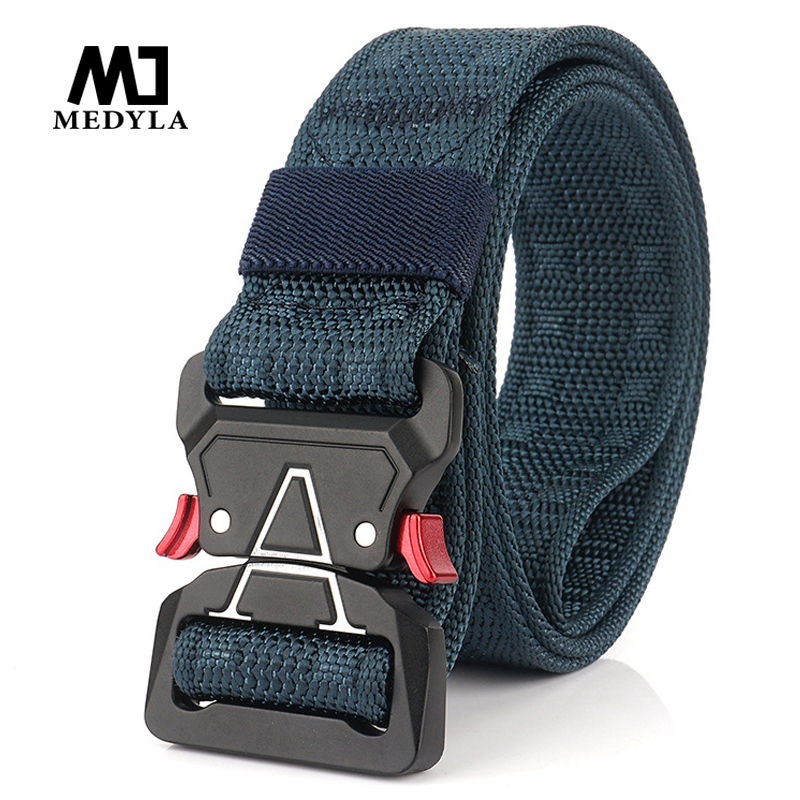 MEDYLA Quick Release Men's 2019 New Brand Unisex Design Steel Buckle Belt Man Quality Canvas Elastic Belts Waistband Casual Men