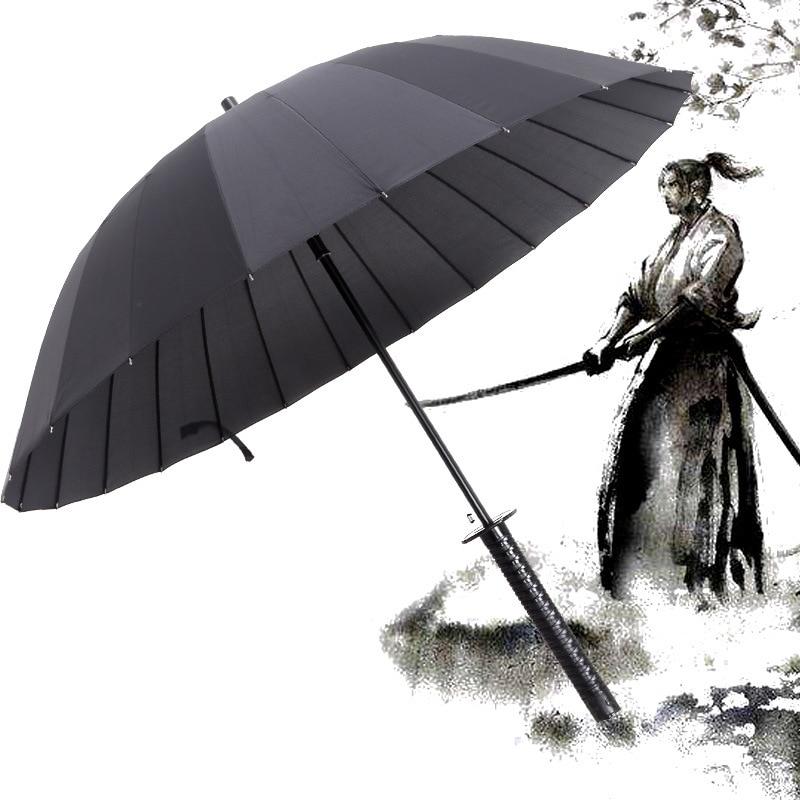 e33ab1037e21d Japanese Samurai Umbrella Strong Windproof Semi Automatic Long Umbrella  Large Man And Women's Business Umbrellas Mens