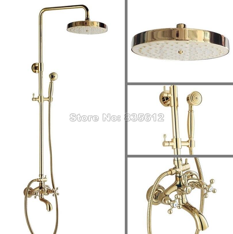 Gold Color Brass 7.7 Shower Head Rain Shower Faucet Set Bathroom Dual Cross Handles Wall Mounted Bathtub Mixer Tap Wgf445