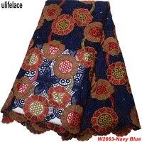 Африканский шнур кружевной ткани швейцарская вуаль кружева высокого качества новейший гипюр кружевной ткани вышитый Швейцарский темно-си...