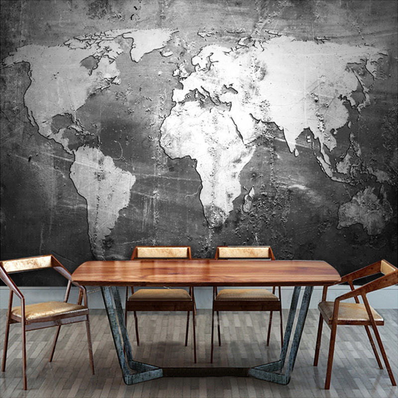 >Customized size High Quality 3D World Map Wall Mural For <font><b>Office</b></font> <font><b>Study</b></font> <font><b>Living</b></font> Room Retro Black and White Eco-friendly Wallpaper