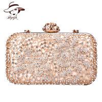 Diamond Flower Fashion Hollow Out Evening Bags Acrylic Clutch Women Shoulder Bag Luxury Party Wedding Messenger Handbag Purses