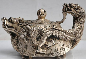 "decoration bronze factory outlets Tibet Silver 6""china fengshui silver Dragon turtle Longevity lucky statue Wine Tea Pot Flagon"